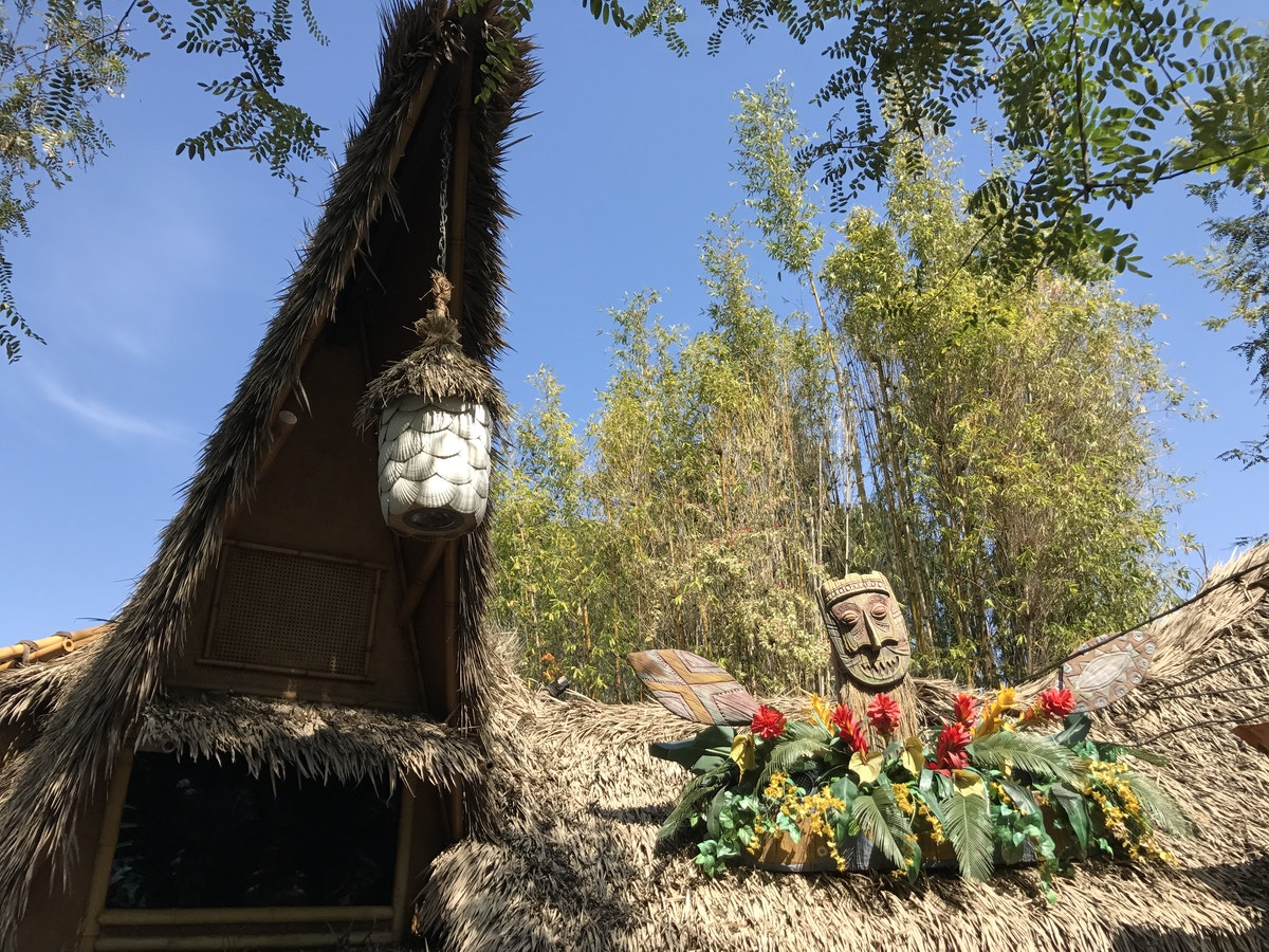 The roof of the Dole Whip stand at Walt Disney's Enchanted Tiki Room, Disneyland Park