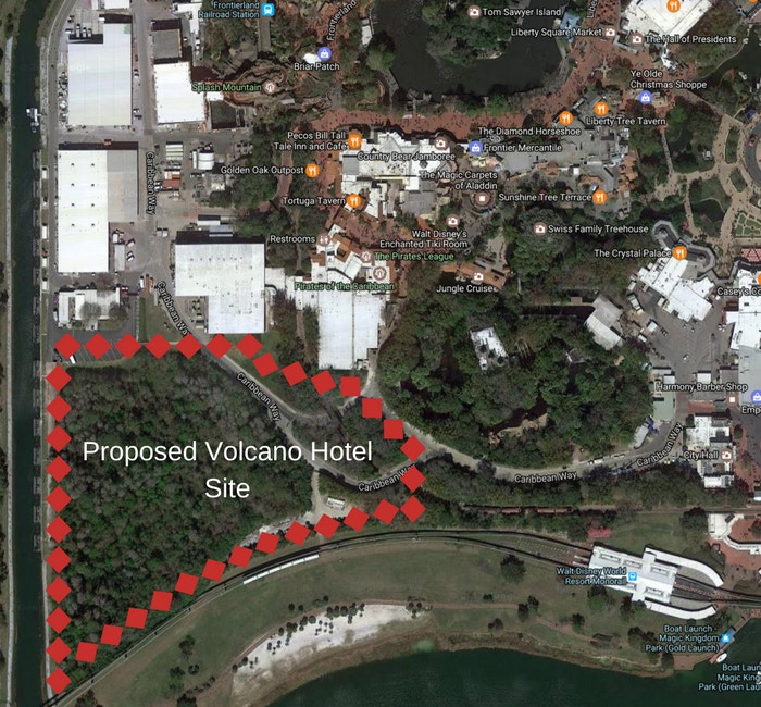 The space in the Magic Kingdom rumored for a volcano roller coaster is more likely going to be home to a luxury resort themed around a volcano.