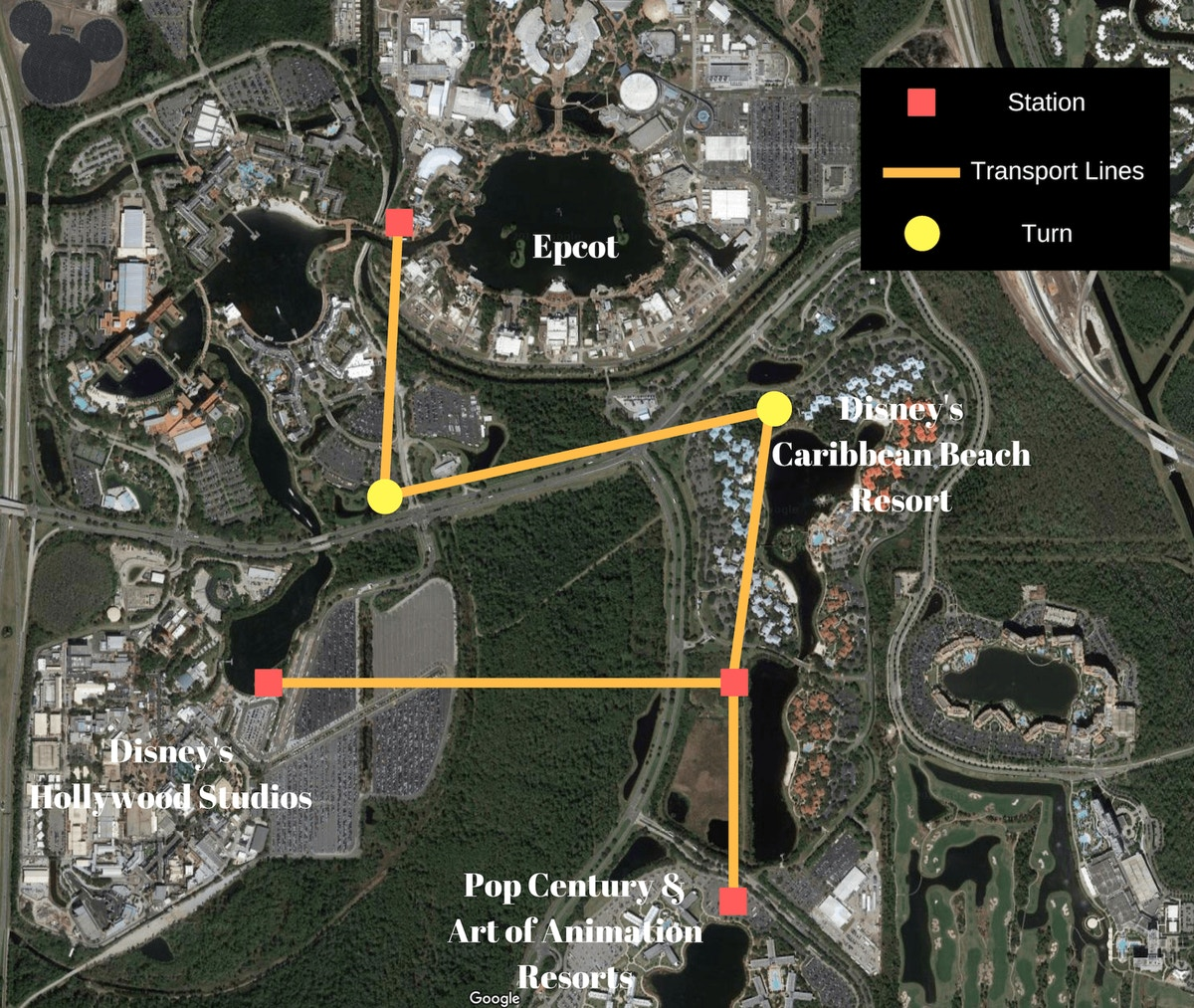 The rumored route, stops and turns of Walt Disney World's new Skyway system.