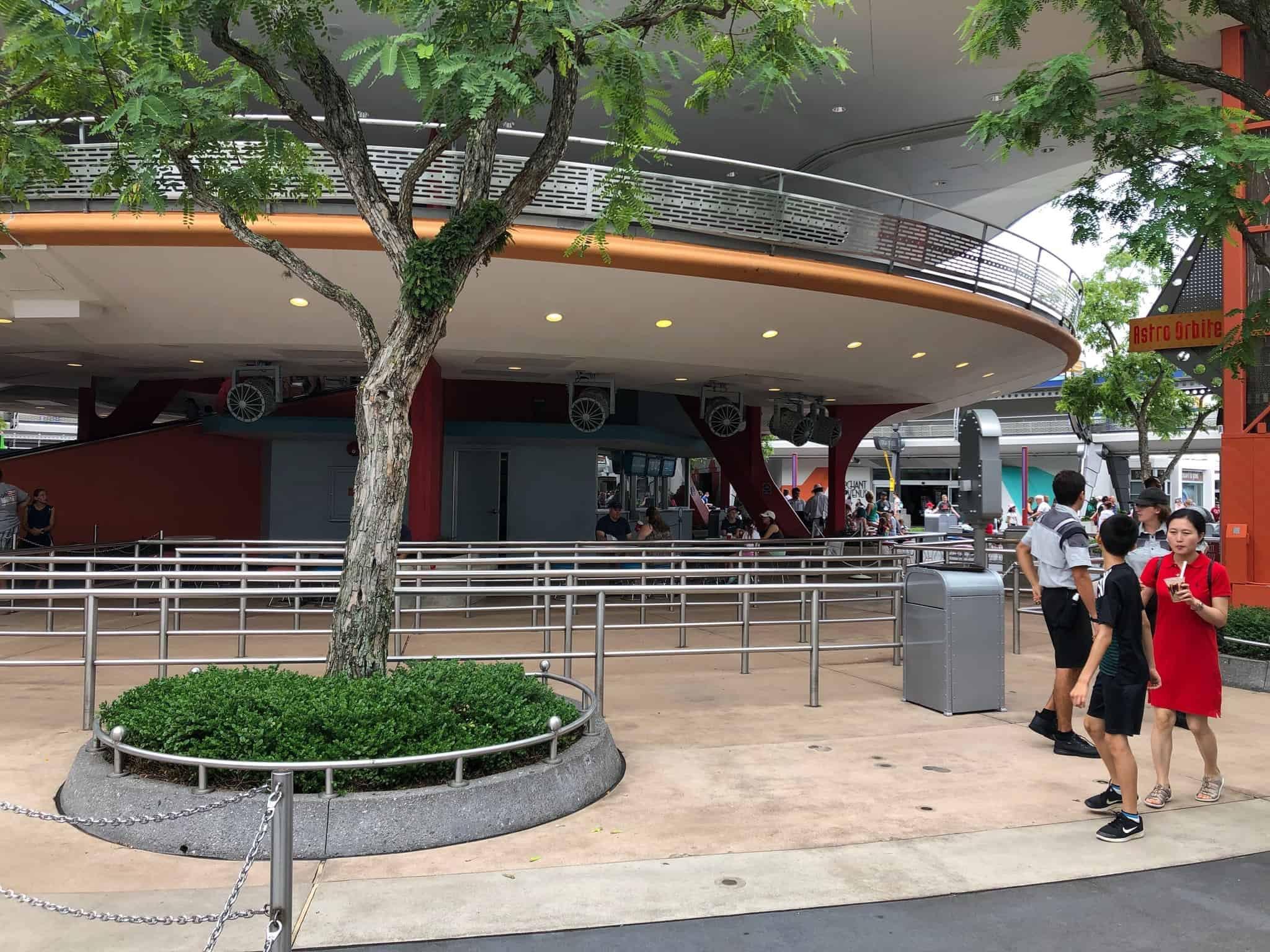 An empty Astro Orbiter queue in Tomorrowland.
