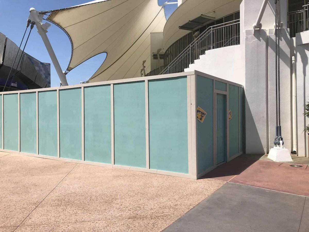 Cirque du Soleil construction walls around the stairs