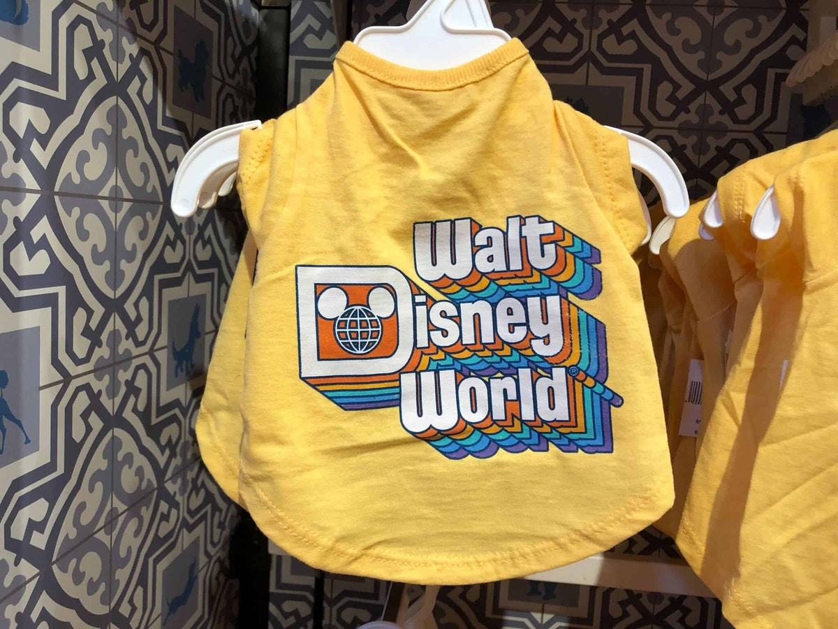 Walt Disney World yellow top with retro lettering for pets