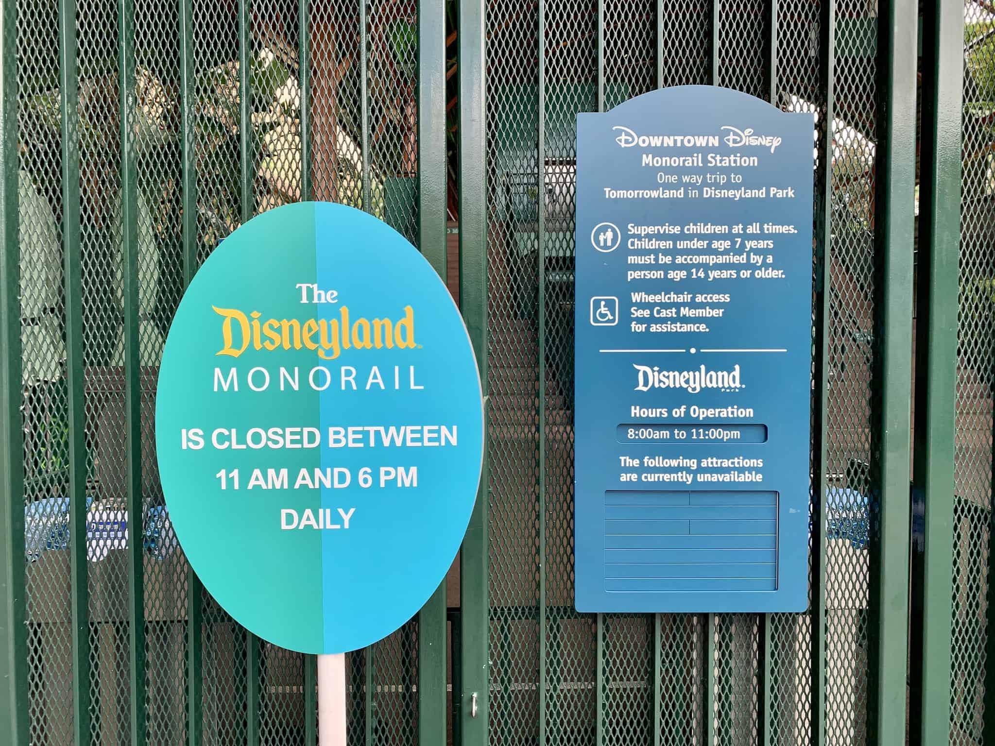 Disneyland Monorail Reduced Hours Disneyland Resort