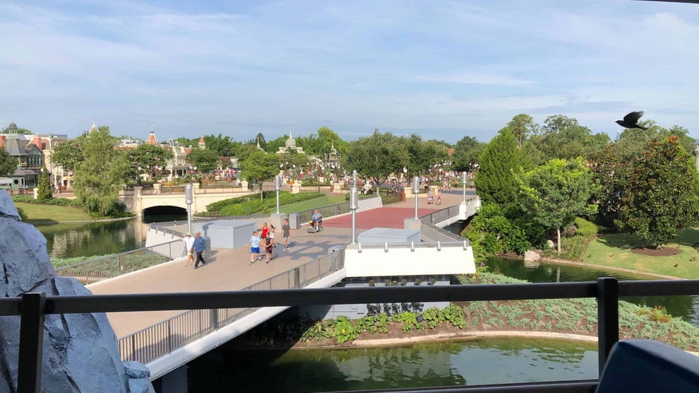 View from the PeopleMover with the Tomorrowland Sign Missing