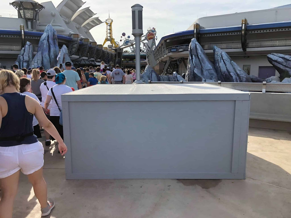 Gray Boxes where the Tomorrowland sign was