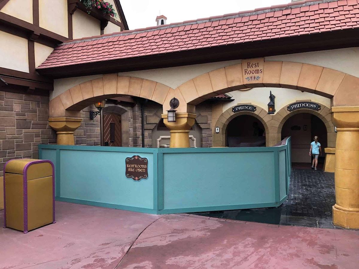 Construction walls up near Pinocchio Village Haus Fantasyland Restrooms