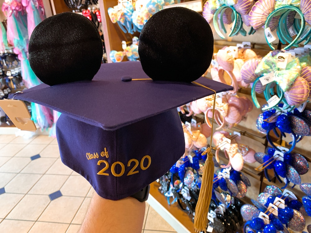 """Mickey Ear Graduation Cap """"Class of 2020"""" Full Front View"""