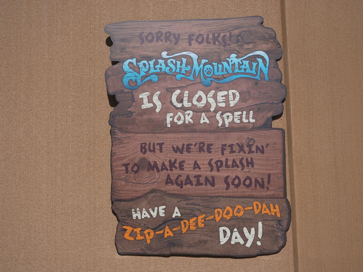 Splash Mountain Is Closed For A Spell