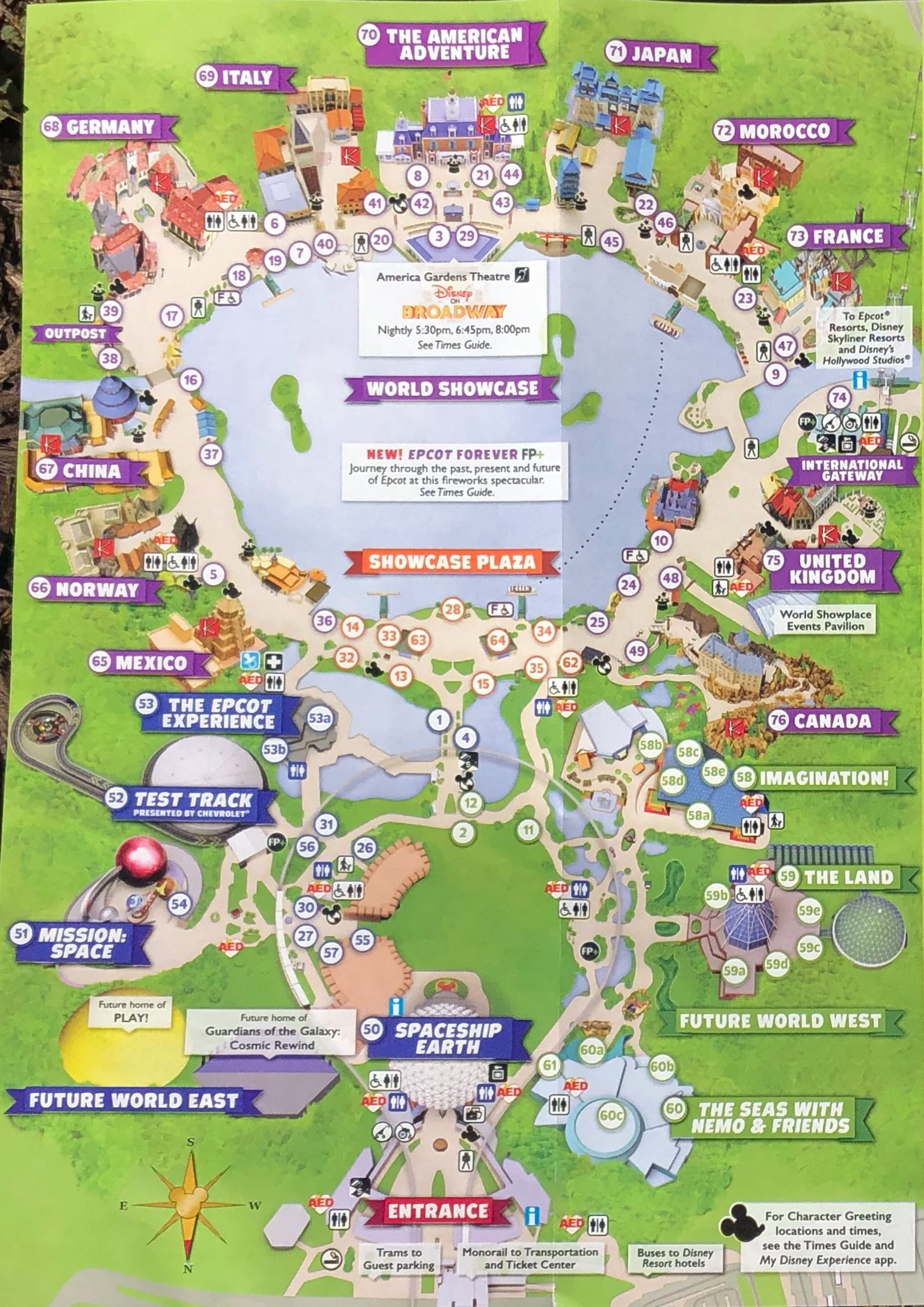 This is an image of Tactueux Printable Epcot Map