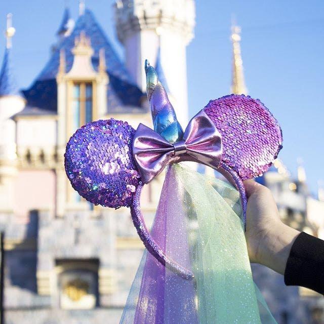New Tokyo Disney Resort Minnie Mickey Mouse Bow Purple Sequin Ears Headband Ears