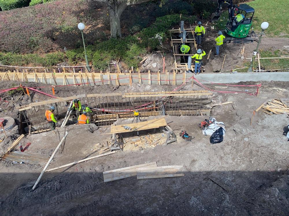 contemporary magic kingdom walkway construction