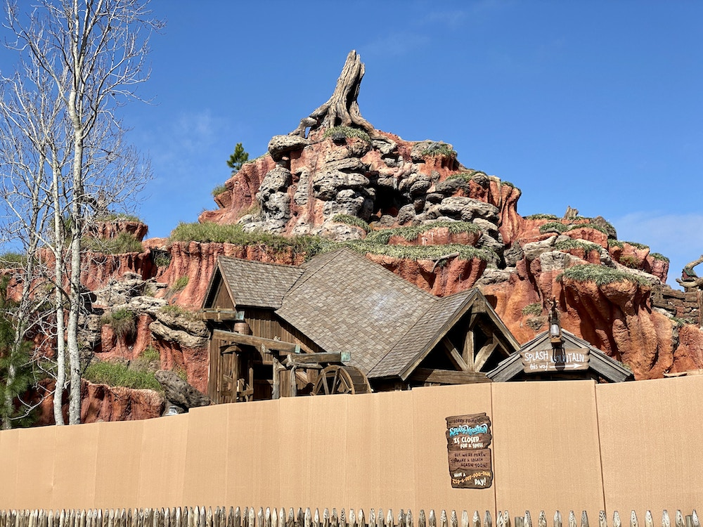 Splash mountain refurbishment complete roof