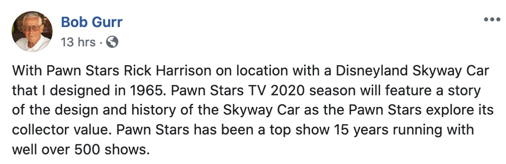 Bob Gurr Pawn Stars