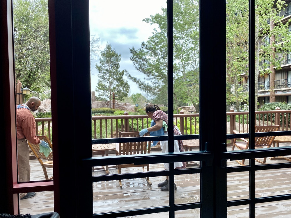 """Wilderness lodge sanitation"""" width = """"1000"""" height = """"750"""" data-lazy-src = """"https://wdwnt-buzzy.imgix.net/2020/03/Lodge-cleaning.jpg?auto=compress%2Cformat&fit=scale&h=750&ixlib=php-1.2.1&q= 84 & w = 1000 & wpsize = medium & is-pending-load = 1 """"> <noscript> <img class="""